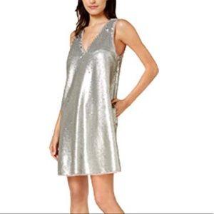 Rachel Rachel Ray Sequin Silver V-Neck NWT Dress S